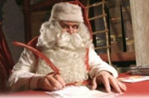 Santa with quill pen